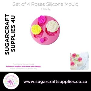 Set of 4 Roses Silicone Mould
